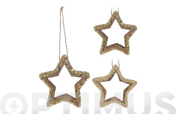 Estrella madera para colgar 11 cm surtidas