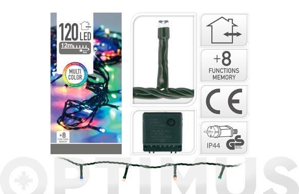 Guirnalda led exterior cable verde 8 funciones multicolor-120l / 11,9m
