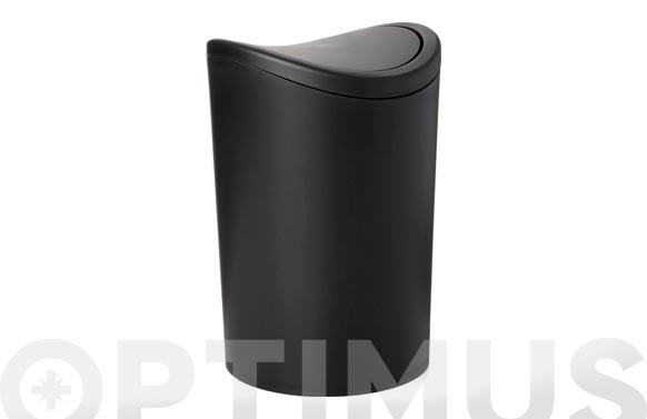 Cubo de baño basculante negro 6 l