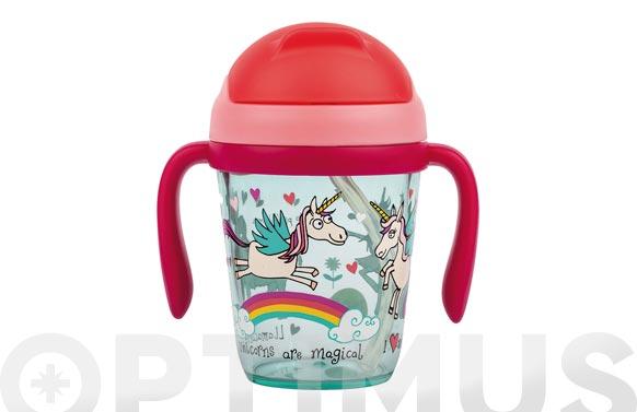 Vaso infantil tritran con asas unicornios 300 ml