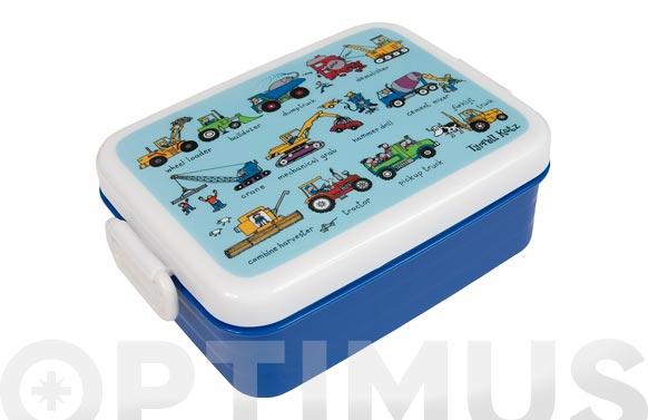 Contenedor porta alimentos infantil con divisiones vehiculos