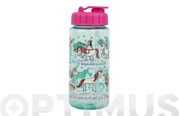 Botella infantil con pajita unicornios 400 ml