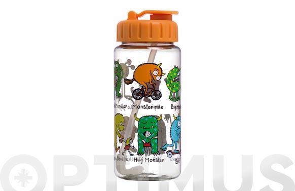 Botella infantil con pajita monstruos 400 ml