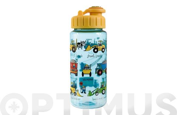 Botella infantil con pajita vehiculos 400 ml