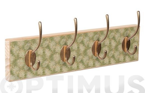 Percha pared 4 ganchos natural hojas verdes