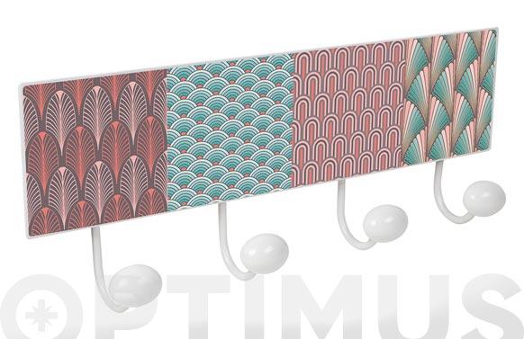 Percha pared 4 pomos metal/porcelana masala rosa mint