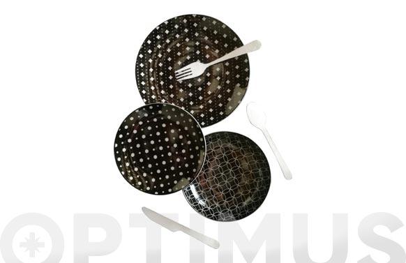 Vajilla 12 piezas porcelana decorada blayk negra