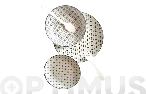 Vajilla 12 piezas porcelana decorada hana blanca