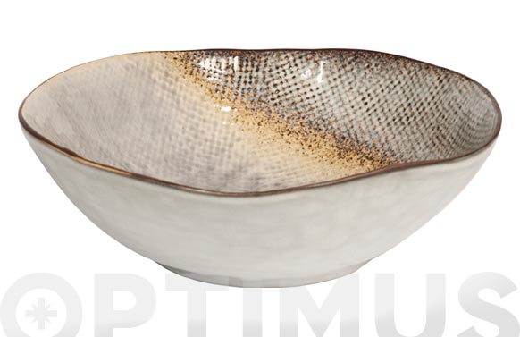 Plato stoneware bicolor irregular hondo 17,5 cm