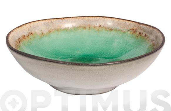 Bol mini stoneware bicolor irregular verde 12 x 3,5 cm