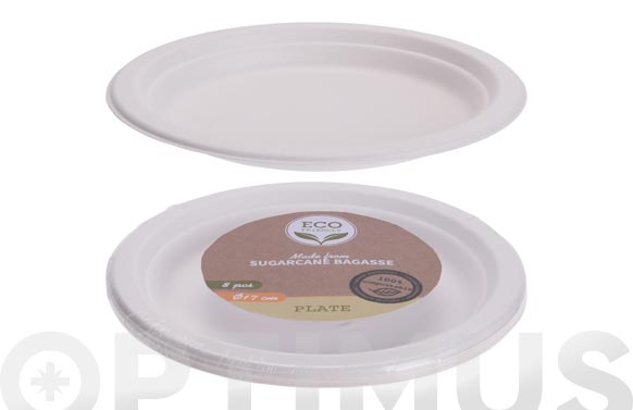 Plato postre desechable biodegradable pack 8 uds ø 17 cm