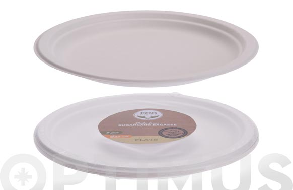Plato llano desechable biodegradable pack 8 uds ø 22,5 cm