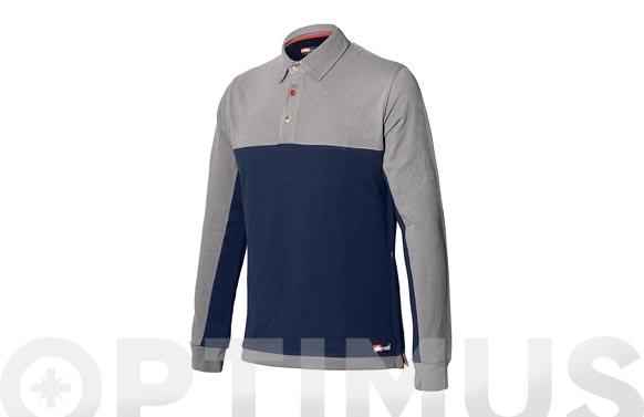 Polo bicolor stretch manga larga azul-gris t. xl