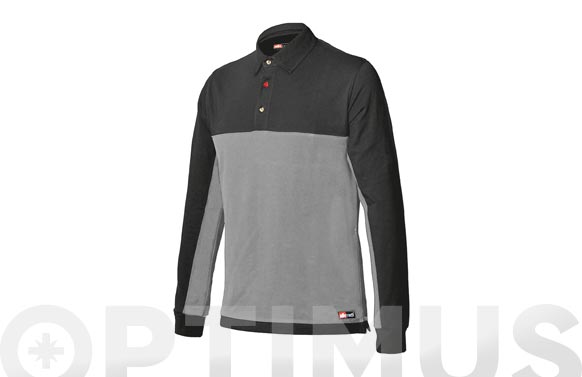 Polo bicolor stretch manga larga gris-negro t. l