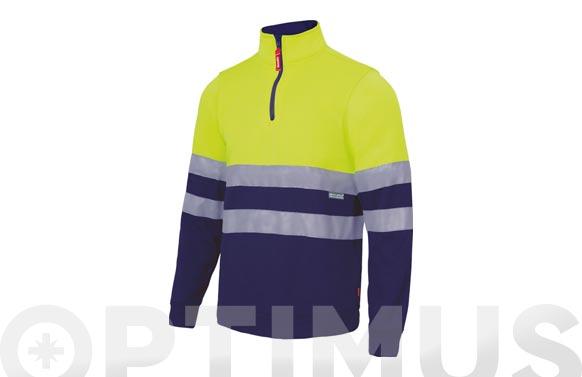 Sudadera bicolor alta visibilidad con cremallera t s amarillo fluor / azul navy