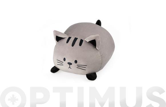 Cojin forma poliester gato gris