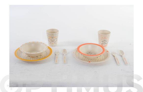 Vajilla infanil bambu set 5 piezas surtido pollito