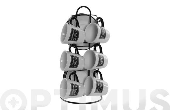 color negro Soporte para tazas de caf/é hierro pintado, 6 platillos y 6 soportes para tazas Quitd