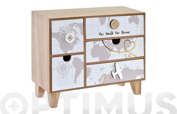 Mini armario madera 32 x 12 x 27 cm mapa mundi travel
