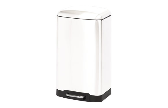 Cubo pedal rectangular metalico blanco 30 l