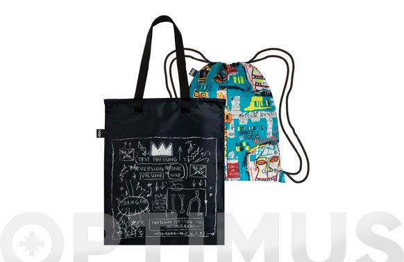 Mochila bolsa reversible loqui colors/negro decorado