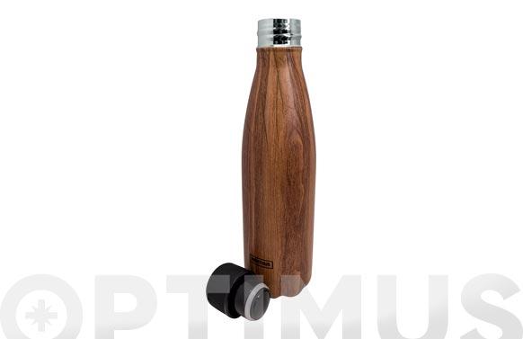 Botella inox termo decorada  500 ml-madera