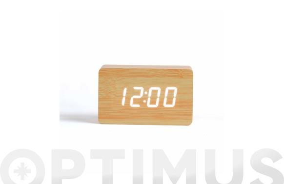 Reloj/despertador digital madera clara