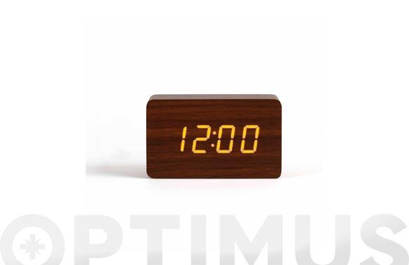 Reloj/despertador digital madera oscura