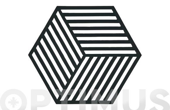 Salvamanteles silicona hexagonal 16 x 14 cm negro