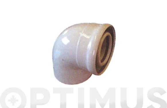 Codo coaxial 87. aluminio blanco ø 60/100 mm