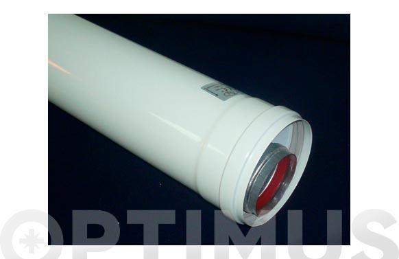 Tubo coaxial macho/macho aluminio blanco ø 60/ 100 1 m