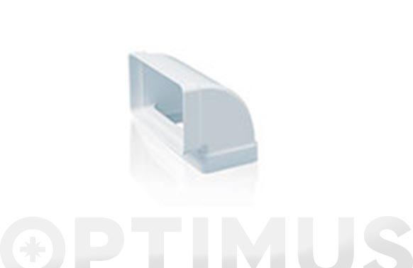 Codo rectangular vertical 90. tubo extraccion pvc 110 x 55 mm
