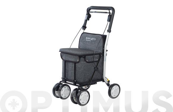 Carro compra 4 ruedas y asiento con respaldo gris texturado