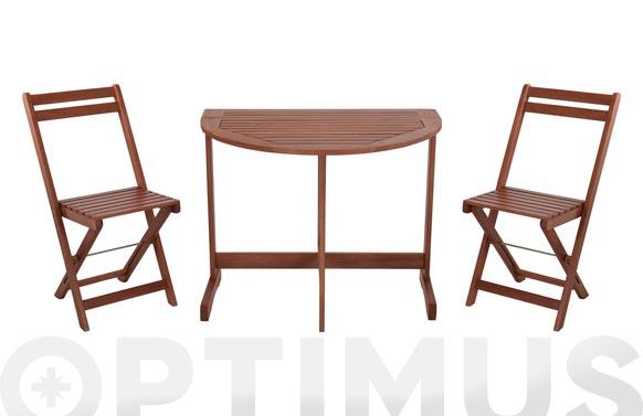 Mesa madera +2 sillas plegables eucaliptus 90 x 60 cm