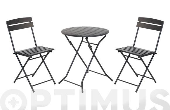Mesa +2 sillas plegables negro ø 60 cm