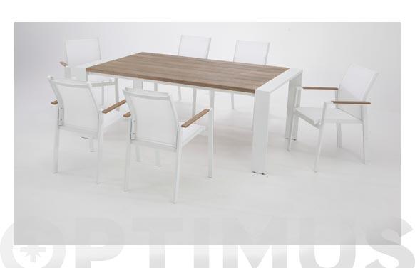 Mesa aluminio madera tunez blanco 200 x100 cm