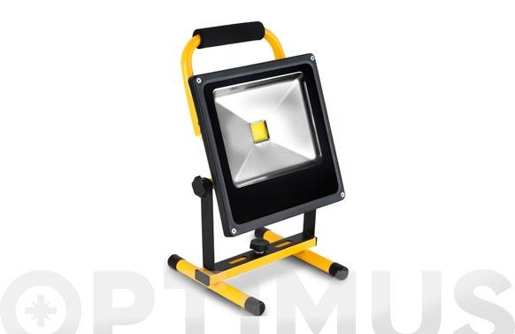Foco proyector led recargable con soporte 30 w luz fria 2000 lm ip65