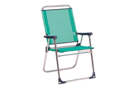 Sillon fijo aluminio playa respaldo alto fibreline azul