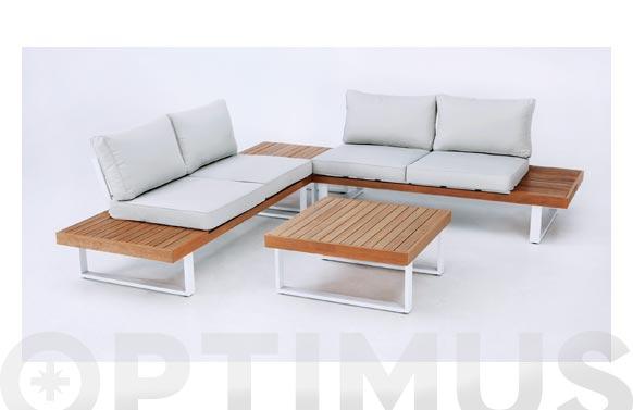 Conjunto rinconero aluminio madera tunez blanco