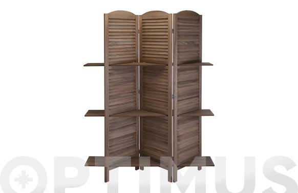 Biombo con estantes madera 3 paneles