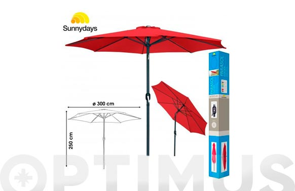 Parasol aluminio inclinable rojo 300 cm tubo 48 mm con manivela