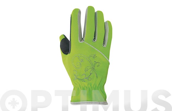 Guante piel sintetica / spandex verde talla 6