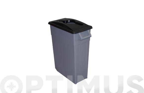 Contenedor basura gris zeus 65l tapa abierta negro