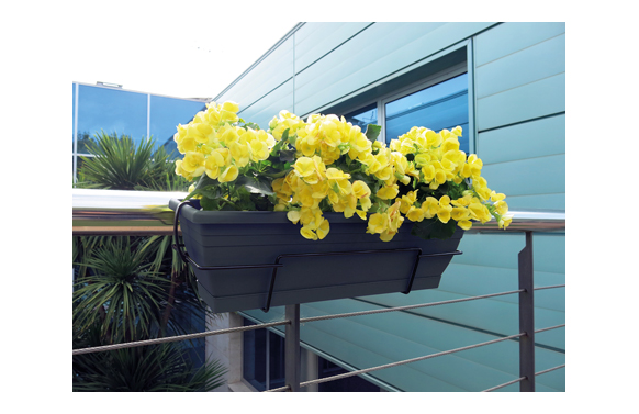 Jardinera de balcon floria 60s antracita 18 x 60 x 20 cm