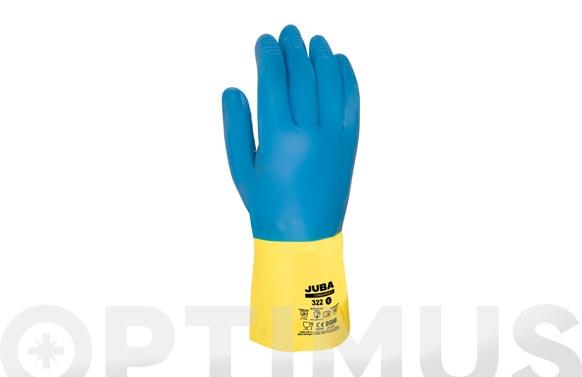 Guante sin soporte conqueror ii quimico t 10 azul/amarillo  latex/neopreno