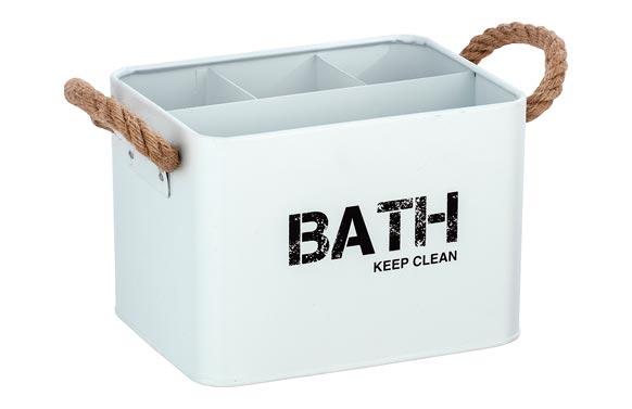 Cesta de baño con compartimentos blanco 19 x 12.5 x 13 cm