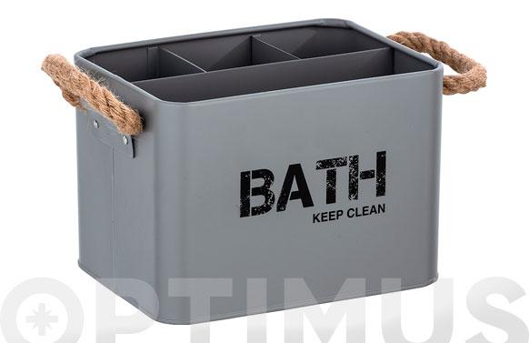 Cesta de baño con compartimentos gris 19 x 12.5 x 13 cm