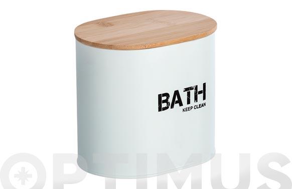 Cesta de baño con tapa blanco 14.5 x 13.5 x 10.5 cm