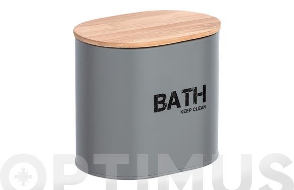 Cesta de baño con tapa gris 14.5 x 13.5 x 10.5 cm