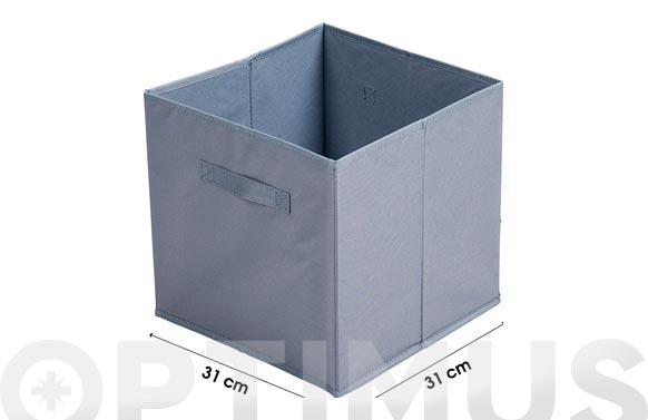 Cubo tela plegable gris 31 x 31 cm